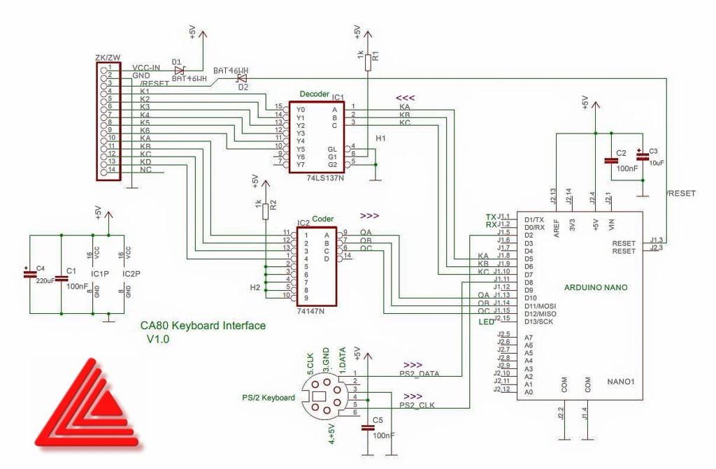 Interfejs PS/2 CA80 - schemat