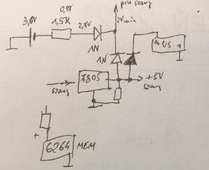 szkic schematu połączeń zasilania płyty